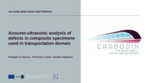 Acousto-ultrasonic analysis of defects in composite specimens used in transportation domain